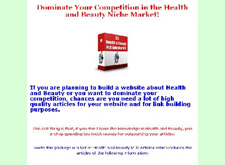 cheap 25 Health and Beauty PLR Articles V17